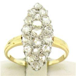Platinum & 14k Yellow Gold Old Rose Cut Diamond Marquise Ring