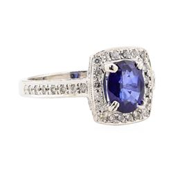3.21 ctw Blue Sapphire And Diamond Ring - 14KT White Gold