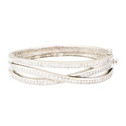 2.70 ctw Diamond Bangle Bracelet - 18KT White And Yellow Gold