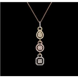 1.28 ctw Diamond Pendant With Chain - 14KT Tri Color Gold