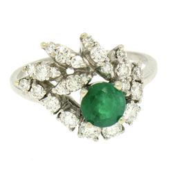 14K White Gold 1.64 ctw F VS1 Prong Set Rich Green Emerald & Diamond Eye Shape C