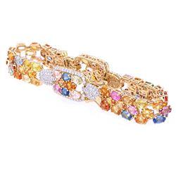 24.09 ct Multi-Colored Sapphire & Diamond Bracelet