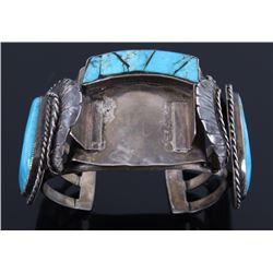 Navajo Sterling & Turquoise Bracelet Signed