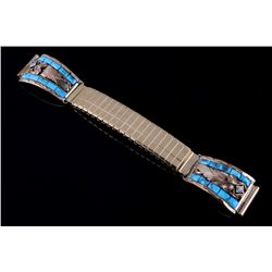 Signed Navajo Silver Morenci Turquoise Watch Band