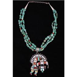 Navajo Inlaid Rainbow Yei Silver Pendant Necklace