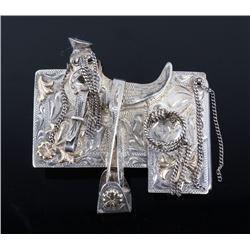 Mexican Sterling & 10K Gold Saddle Belt Buckle