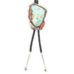 Navajo Sterling Silver & Turquoise Bolo Signed
