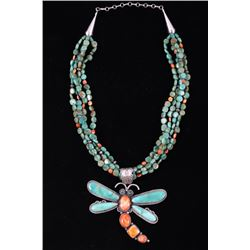 Navajo Carico Lake Turquoise Dragonfly Necklace