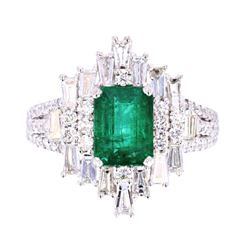 Great Gatsby Art Deco Emerald & VS2 Diamond Ring