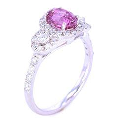 RARE UNHEATED Pink Sapphire & VS1 Diamond Ring