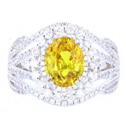 RARE Orangy Yellow Sapphire & Diamond Ring
