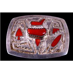 Navajo Sterling Silver Coral Belt Buckle Signed