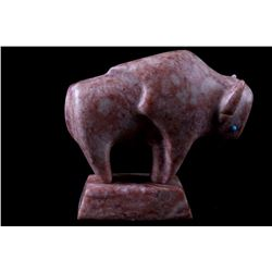 Signed Navajo Pink Petalite Carved Bison