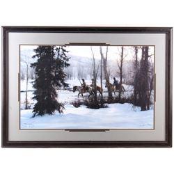 "1985 ""Indians in Snowy Woods"" by Howard Terpning"