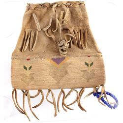 Nez Perce Corn Husk & Hide Flat Bag c. 1890