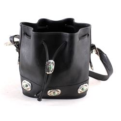 Singed Sterling Silver Black Leather Navajo Purse
