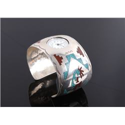 Navajo Sterling Turquoise Chip Inlay Watch Cuff