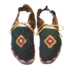 Sioux Fully Beaded Moccasins c. 1880-1890's