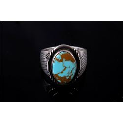Singed Navajo Sterling Silver & Turquoise Ring