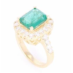 EXCELLENT Emerald & Diamond 14K Gold Ring