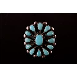 Signed Navajo Silver & Petite Point Turquoise Ring