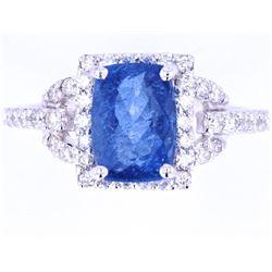 Dark Blue Aquamarine & VS2 Diamond Platinum Ring