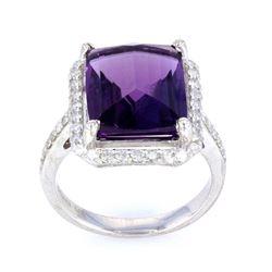 Amethyst & Diamond Classic 14K Gold Ring