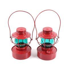 Pair of Hanlan Green Globe Railroad Lanterns