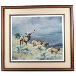 Limited Edition Nancy Glazier Framed Elk