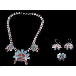 Navajo Headdress Necklace, Earrings and Ring Set