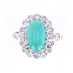 1940's Mid-Century Turquoise & Diamond 14K Ring