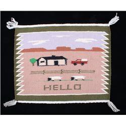 """Navajo Hand Woven """"Hello"""" Salesman Sample Rug"""