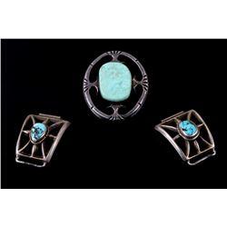 Navajo Sterling Silver Bolo Pendant & Watch Cuffs
