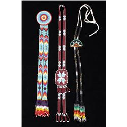 Fully Beaded American Indian Bolo Ties & Pin