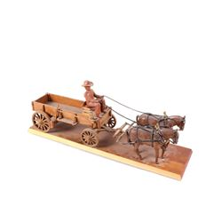 Mid 1900's Hand Carved Wooden Horse & Buggy