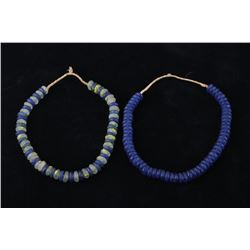 African Vaseline Trade Bead Necklace Pair