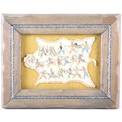 1983 Sioux Framed Polychrome Painted Hide