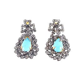 Antiqued Turquoise & Diamond Earrings Gold Silver