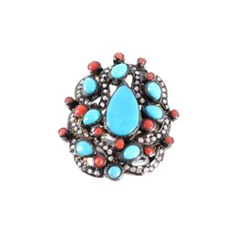 Art Nouveau Turquoise Coral & Diamond Ring