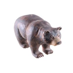 1992 Hand Carved Wooden Bear by E. Carlson