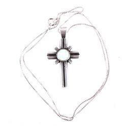Navajo Sterling Silver & Precious Opal Necklace