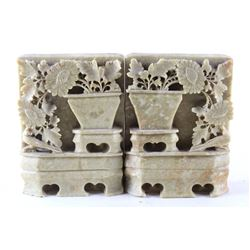 Carved Floral Moss Green Soapstone Bookends