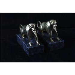 Mid 1900's Brass on Marble Lioness Bookend Pair