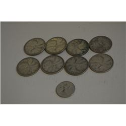 Silver Canadian Quarters and a Dime
