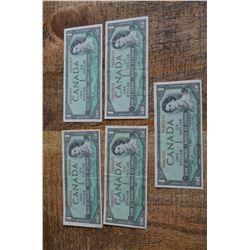 $1 Canadian bills