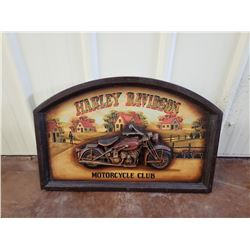 NO RESERVE HARLEY DAVIDSON MOTORCYCLE CLUB WOODEN SIGN