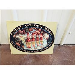 NO RESERVE VINTAGE COORS GOLDEN BEER COLLECTIBLE SIGN