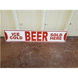 NO RESERVE ICE COLD BEER SOLD HERE COLLECTIBLE SIGN