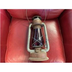 NO RESERVE RARE RED GLASS CANADIAN RAILWAY BEACON LANTERN