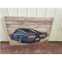 NO RESERVE LARGE ORIGINAL ONE OF A KIND GONE IN 60 SECONDS WOODEN ART FEATURING THE 1967 ELEANOR 500